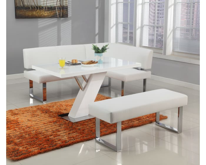 Chintaly Imports Linden Gloss White 3 Piece Dining Set Linden Dt T Linden Dt M Linden Dt B Linden Nook Linden Bch Wht Goedekers Com