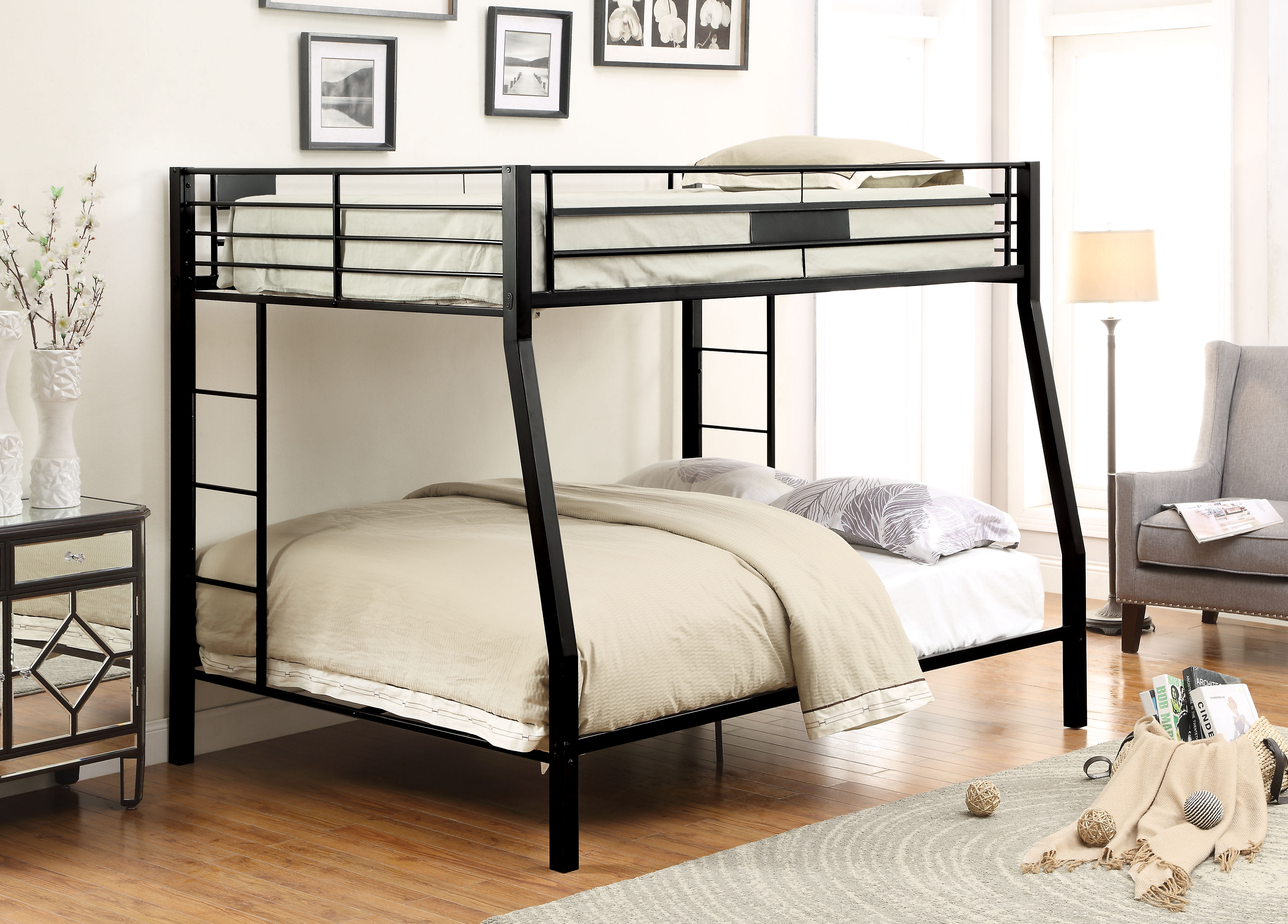 Picture of: Acme Furniture Limbra Sandy Black Full Size Xl Queen Bunk Bed 38005 Goedekers Com