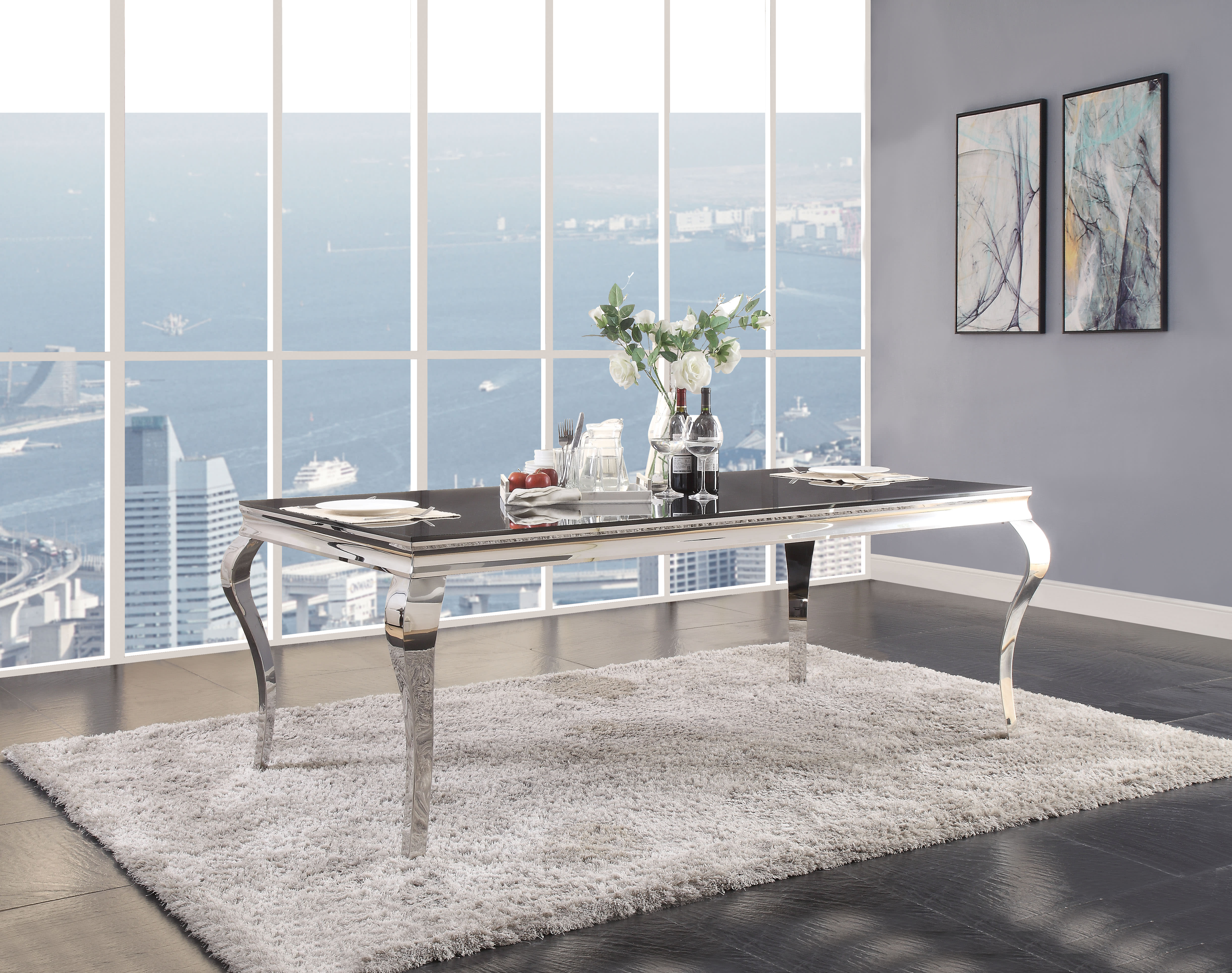 Acme Furniture Fabiola Stainless Steel Black Glass Dining Table 62070 Goedekers Com