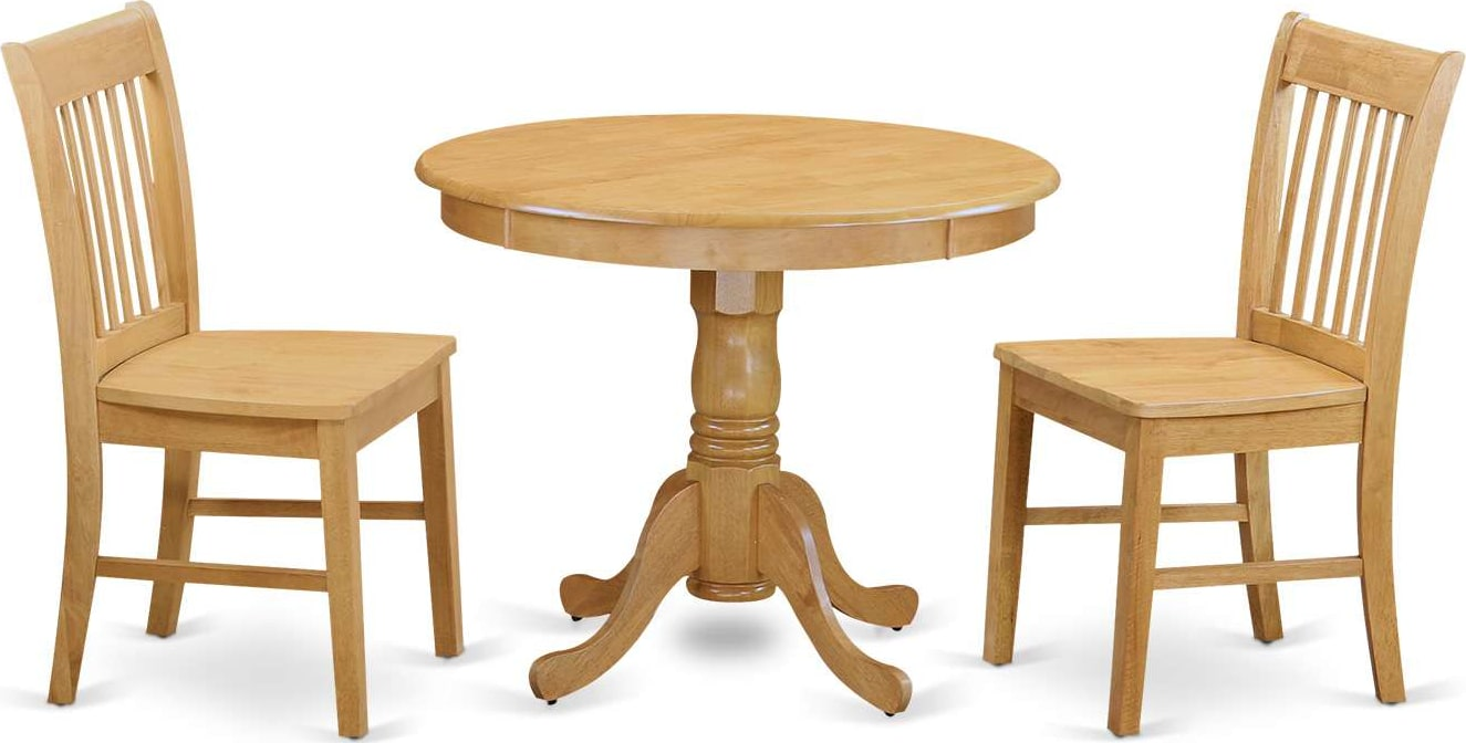 East West Furniture Antique 3 Piece Dining Table Set Small Kitchen Table And 2 Dining Chairs Anno3 Oak W Goedekers Com