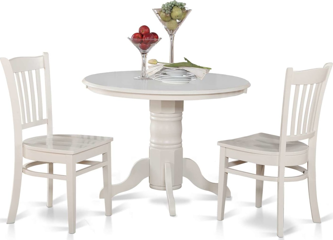 East West Furniture Shelton 3 Piece Kitchen Nook Table Set Round Table And 2 Dinette Chairs Shgr3 Whi W Goedekers Com