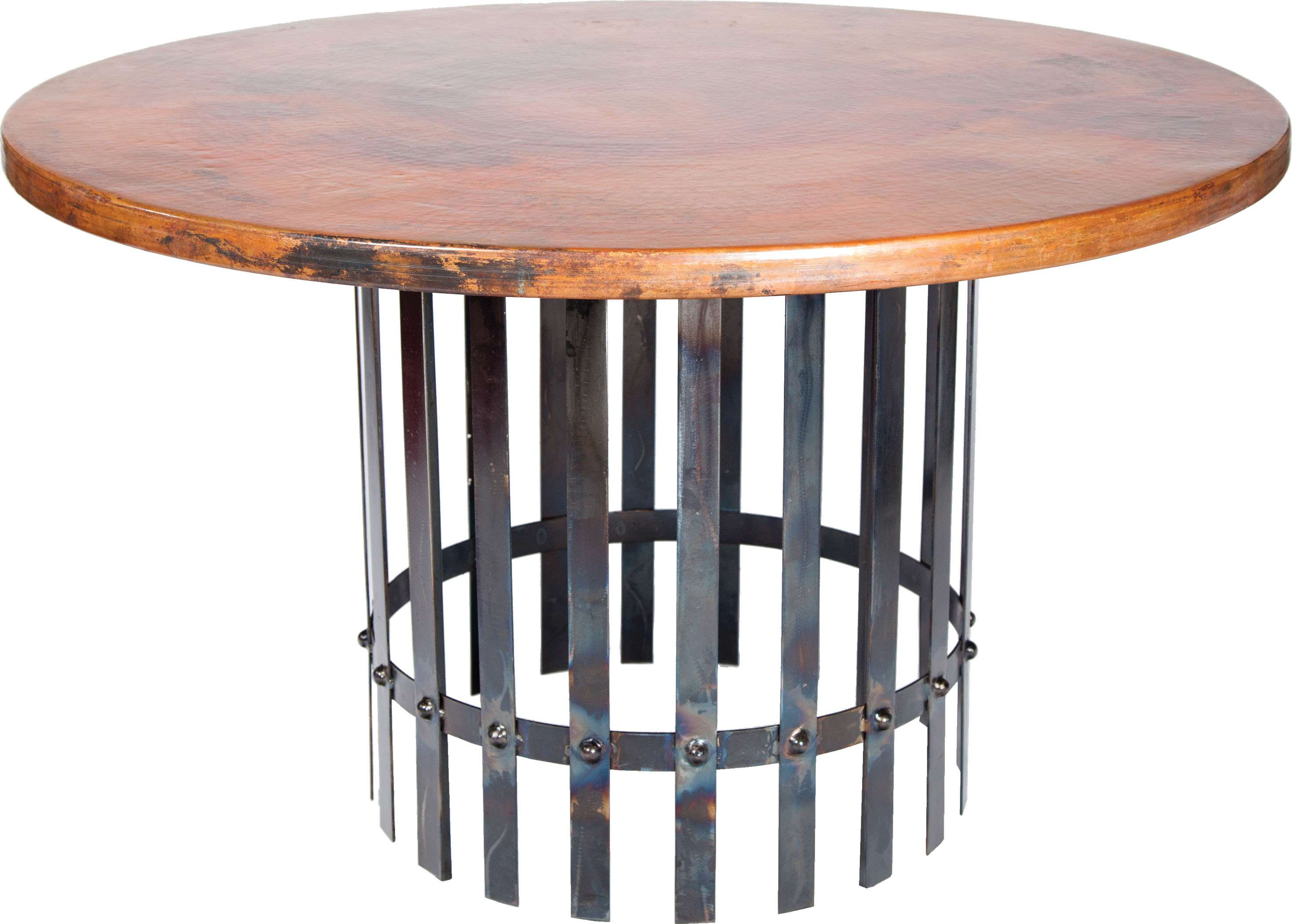 Prima Design Source Ashton Brown Dining Table With 48 Round Hammered Copper Top 2m5 F 261a Goedekers Com