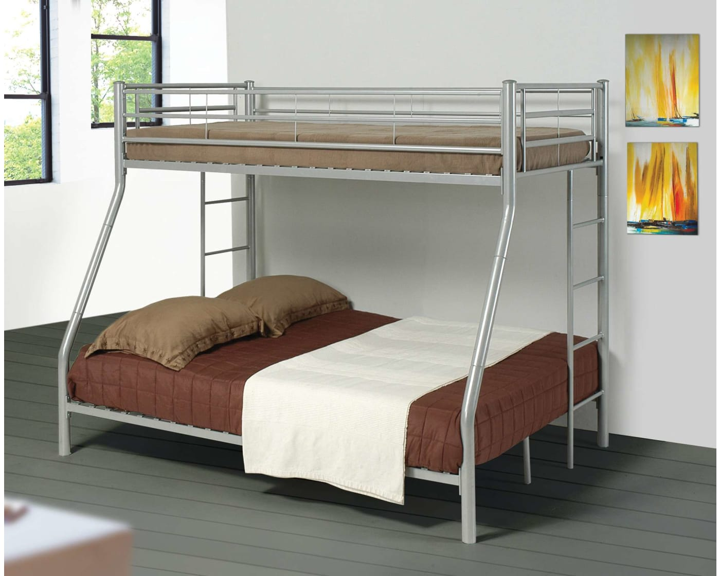 Coaster Denley Silver Twin Over Full Bunk Bed 460062 Goedekers Com