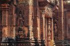 Closeup of Banteay Srei in Siem Reap