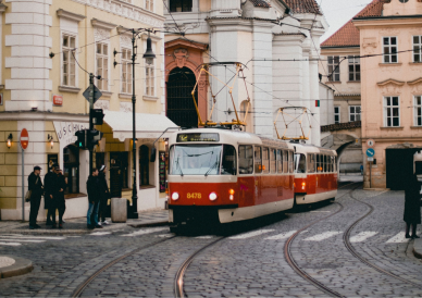 Tram Moving Through the City Center in Old Town Prague