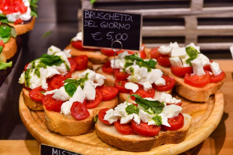 Plate of Bruschetta with Tomato and Mozzerella