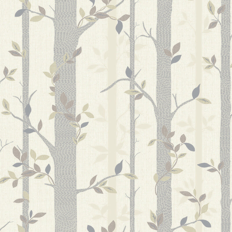 arthouse birch tree wallpaper in neutral