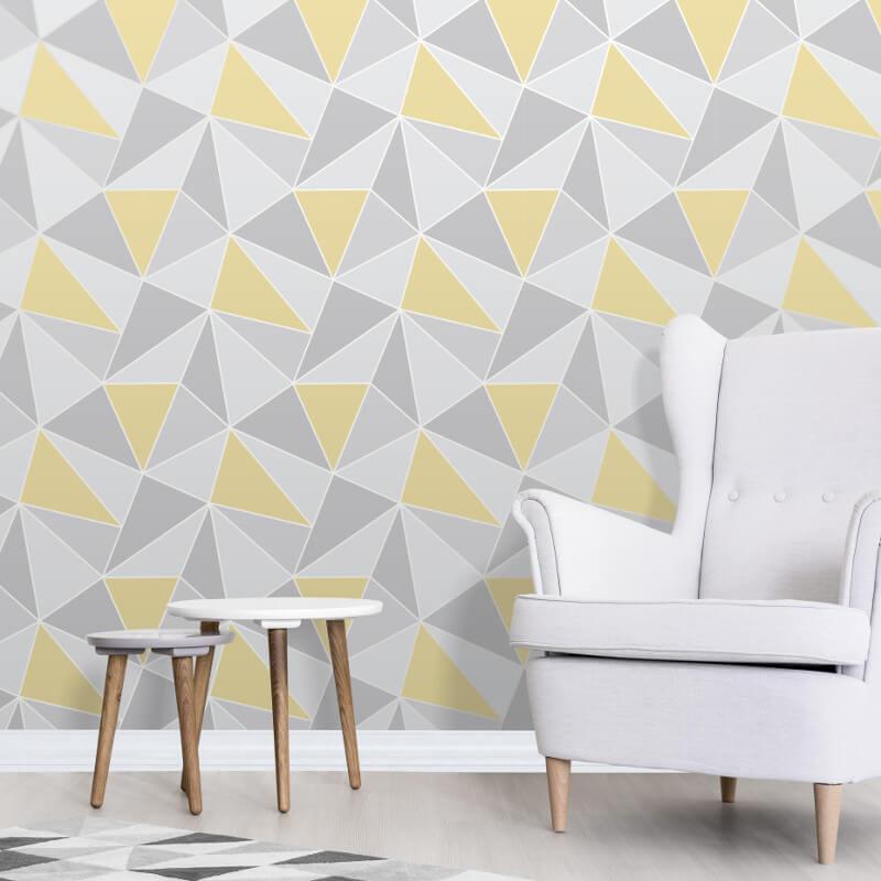 Fine decor apex geo yellow grey wallpaper fd41991 - Yellow and grey home decor ...