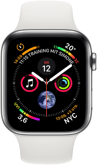 Weiß & Silber Apple Watch Series 4 GPS + Cellular, 40mm.1