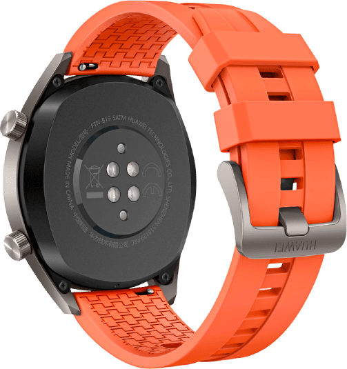 Orange Huawei Watch GT Active, 46mm Stainless steel case, Fluororubber band.3