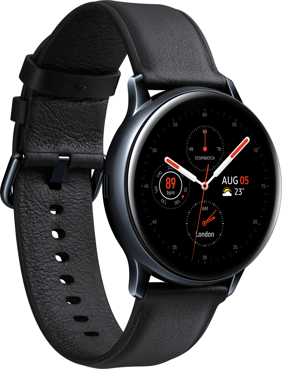 Black Samsung Galaxy Watch Active2 (LTE), 40mm Stainless steel case, Leather band.2