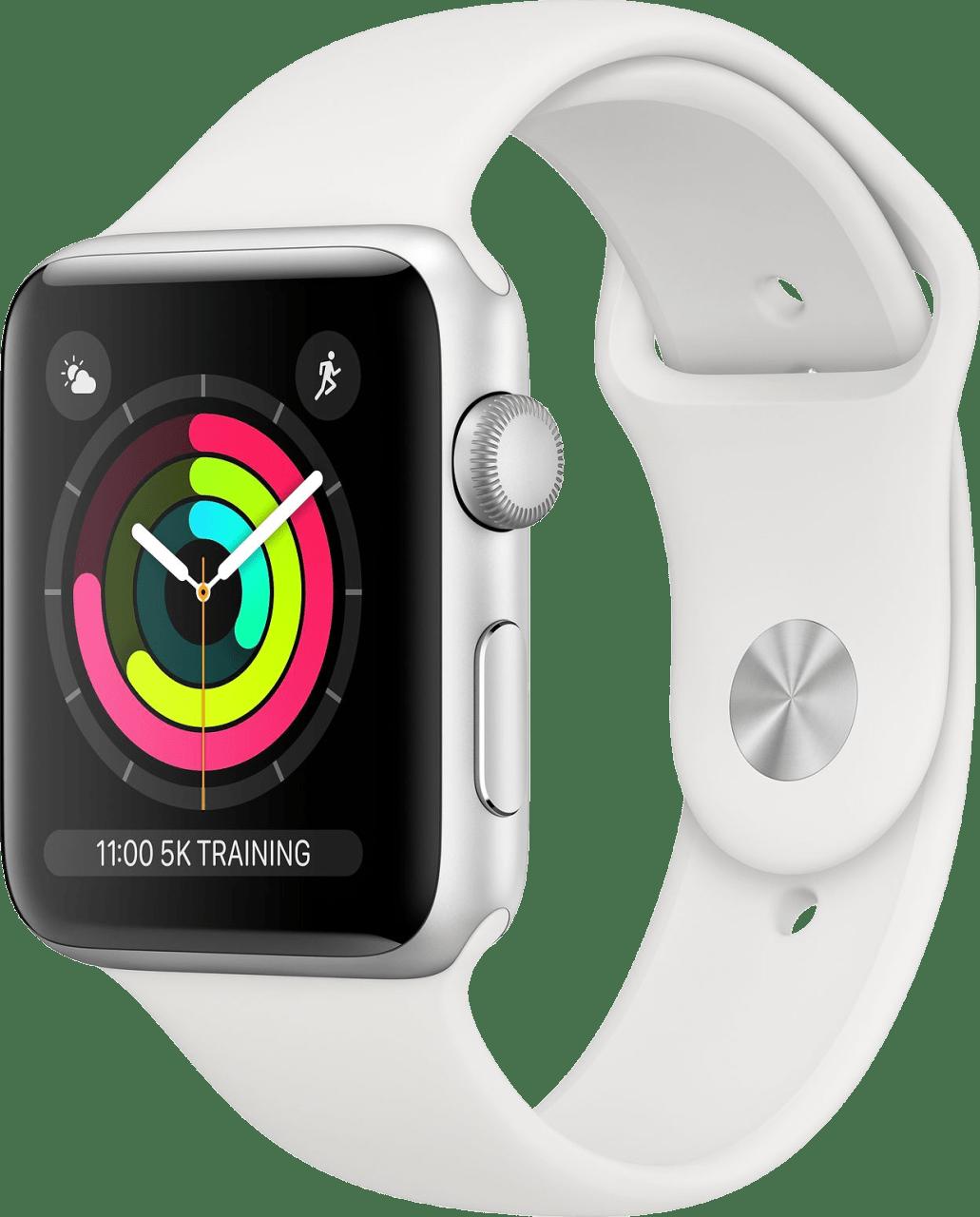 Weiß Apple Watch Serie 3 GPS, 42 mm Aluminium-Gehäuse, Sportarmband.2