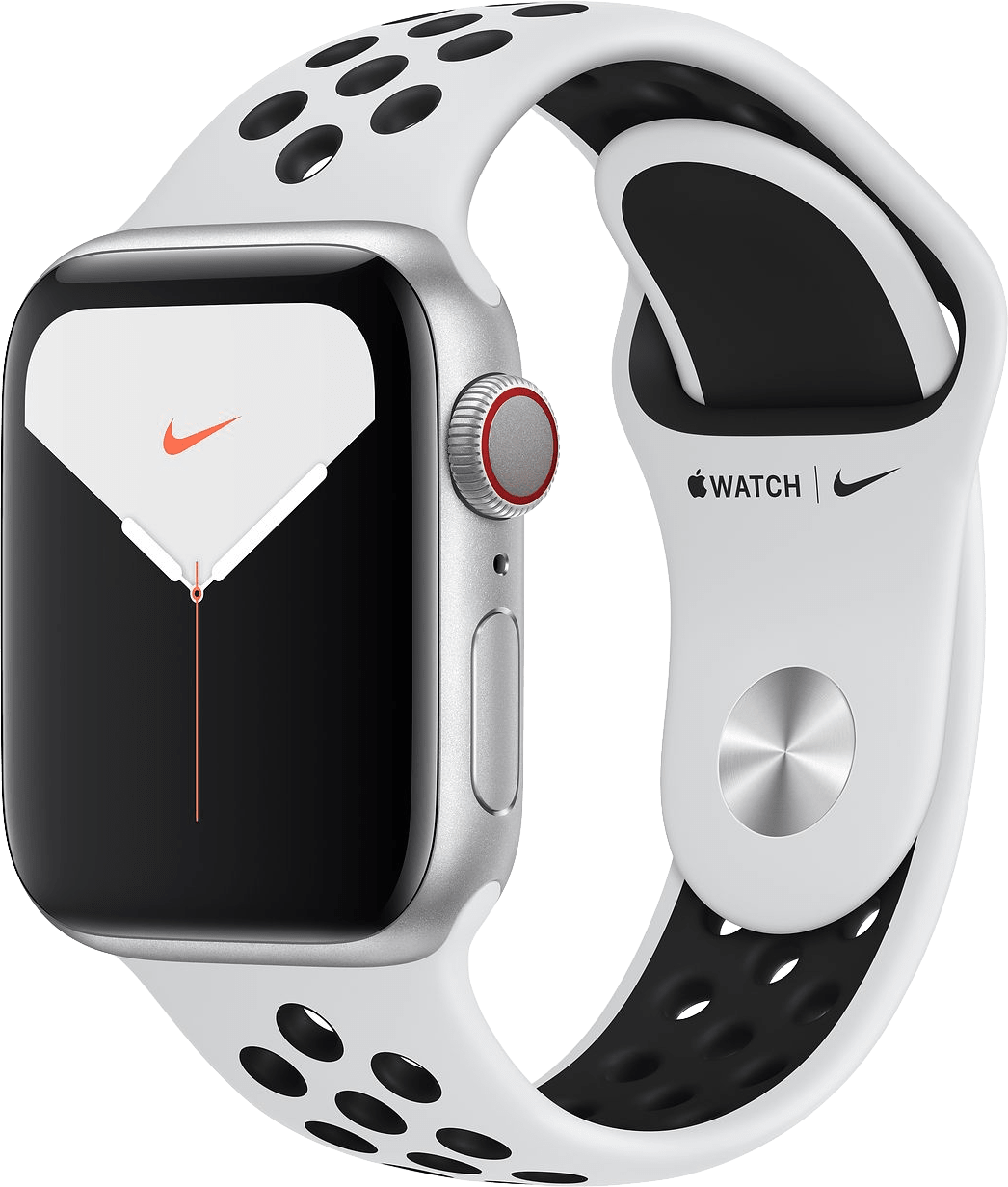 Reines Platin / Schwarz Apple Watch Nike Series 5 GPS + Cellular, 40mm.2