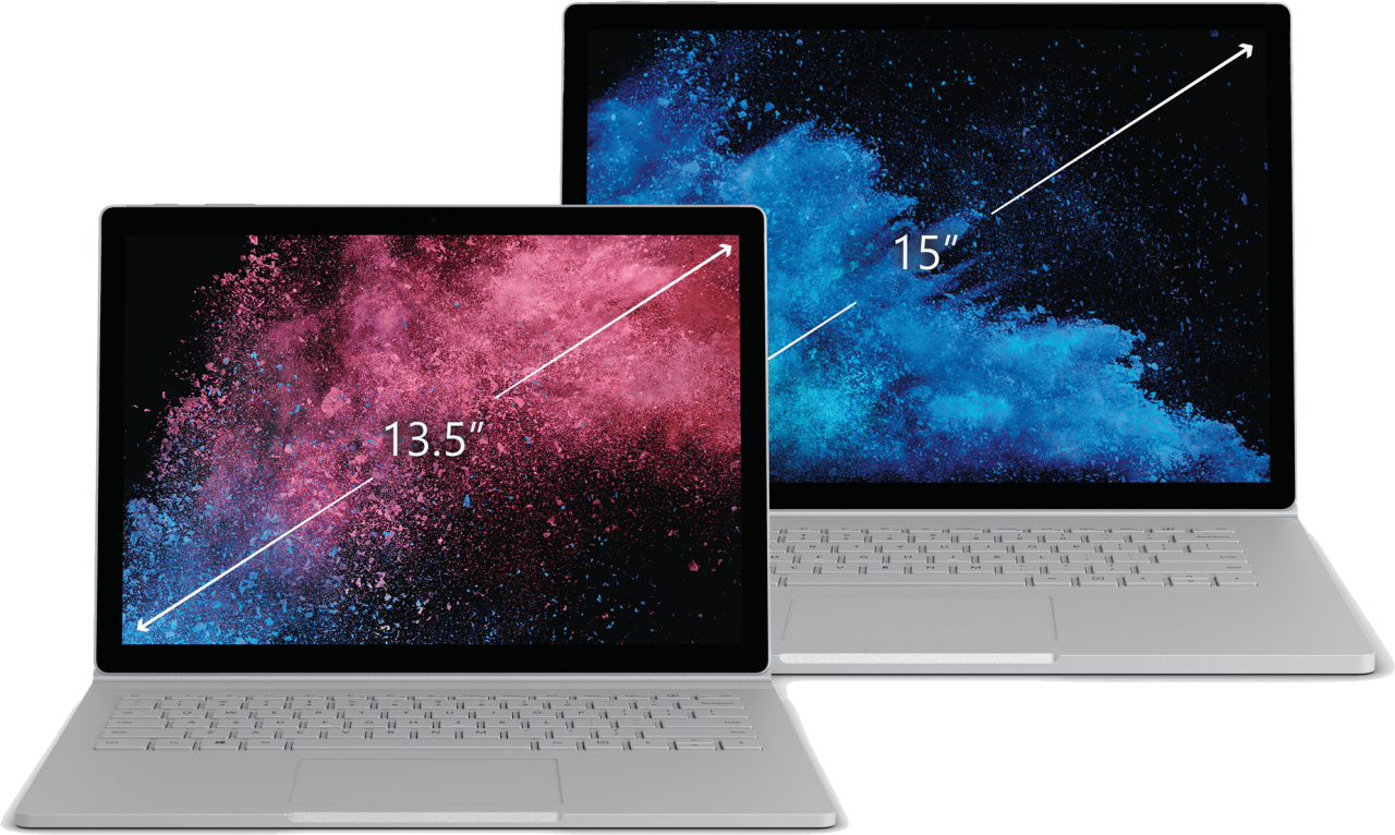 "Silver Microsoft Surface Book 2 13.5"".4"