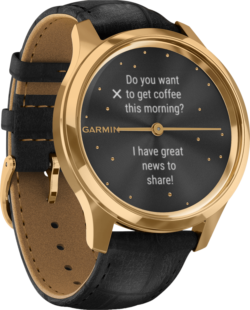 Black Garmin Vivomove Luxe, 42mm.4
