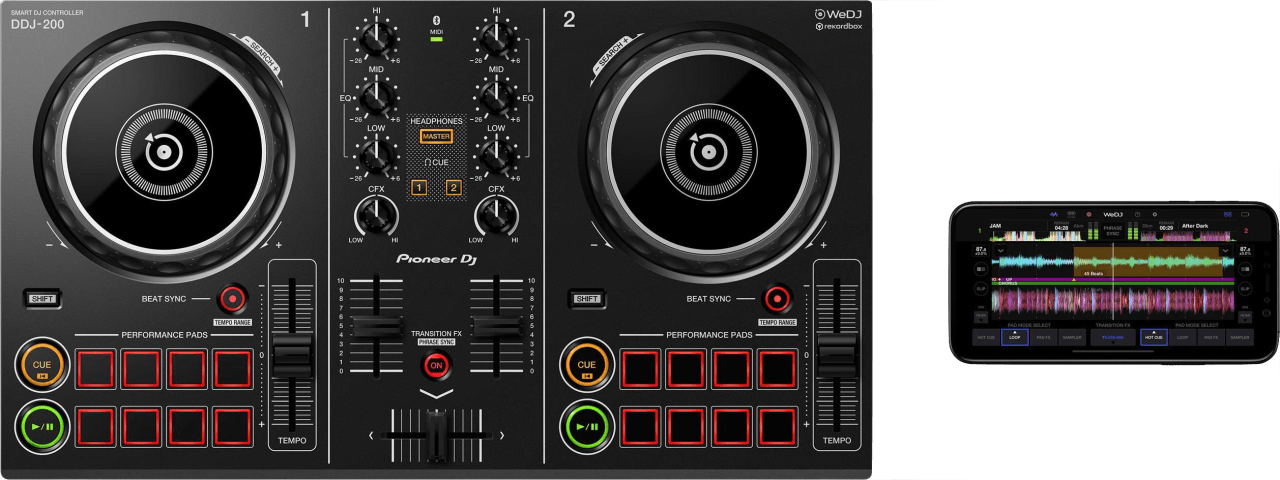 Schwarz Pioneer DDJ-200 Smart DJ-Controller.4