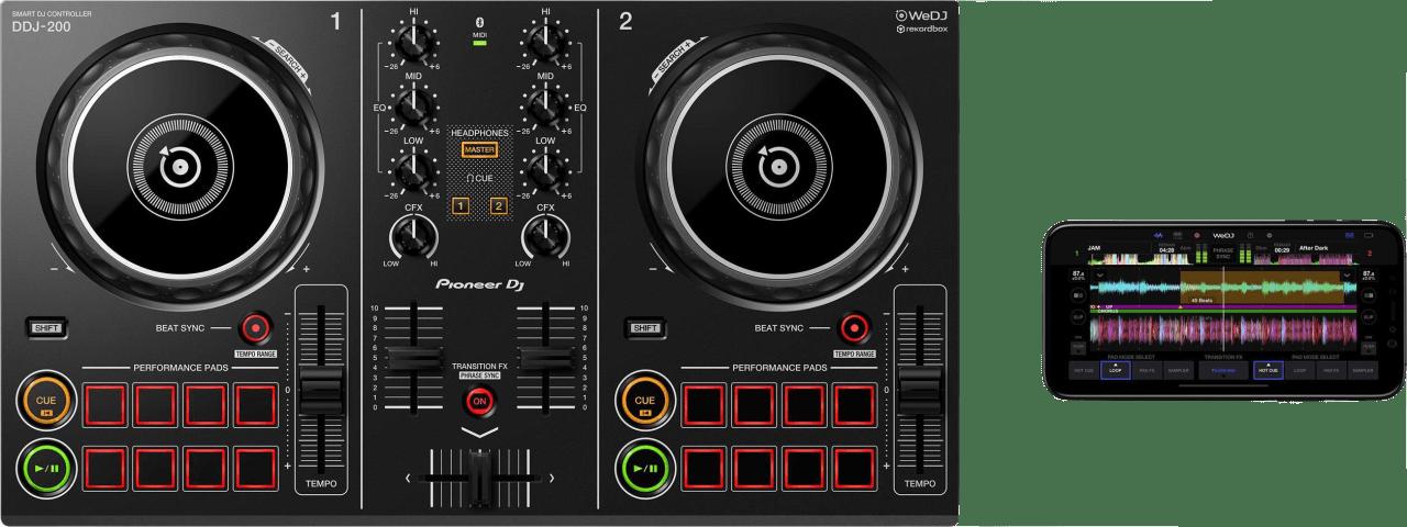Black Pioneer DDJ-200 Smart DJ controller.4