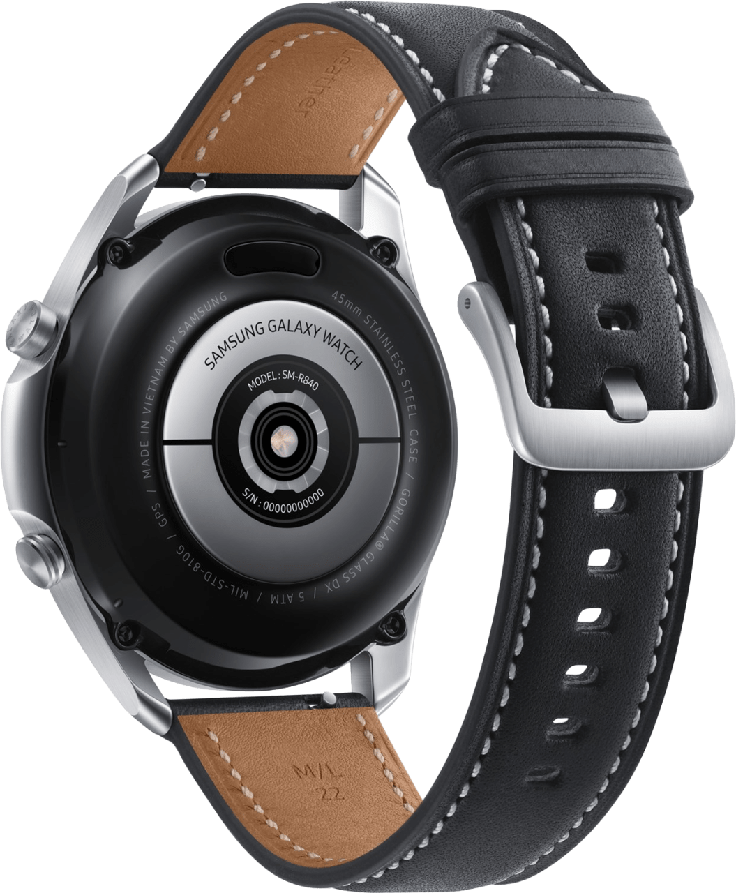 Mystic Zilver Samsung Galaxy Watch3, 45mm Stainless steel case, Real leather band.4