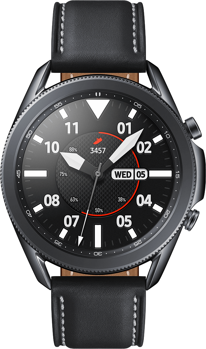 Mystic Black Samsung Galaxy Watch 3 (LTE), 45mm Stainless steel case, Real leather band.2