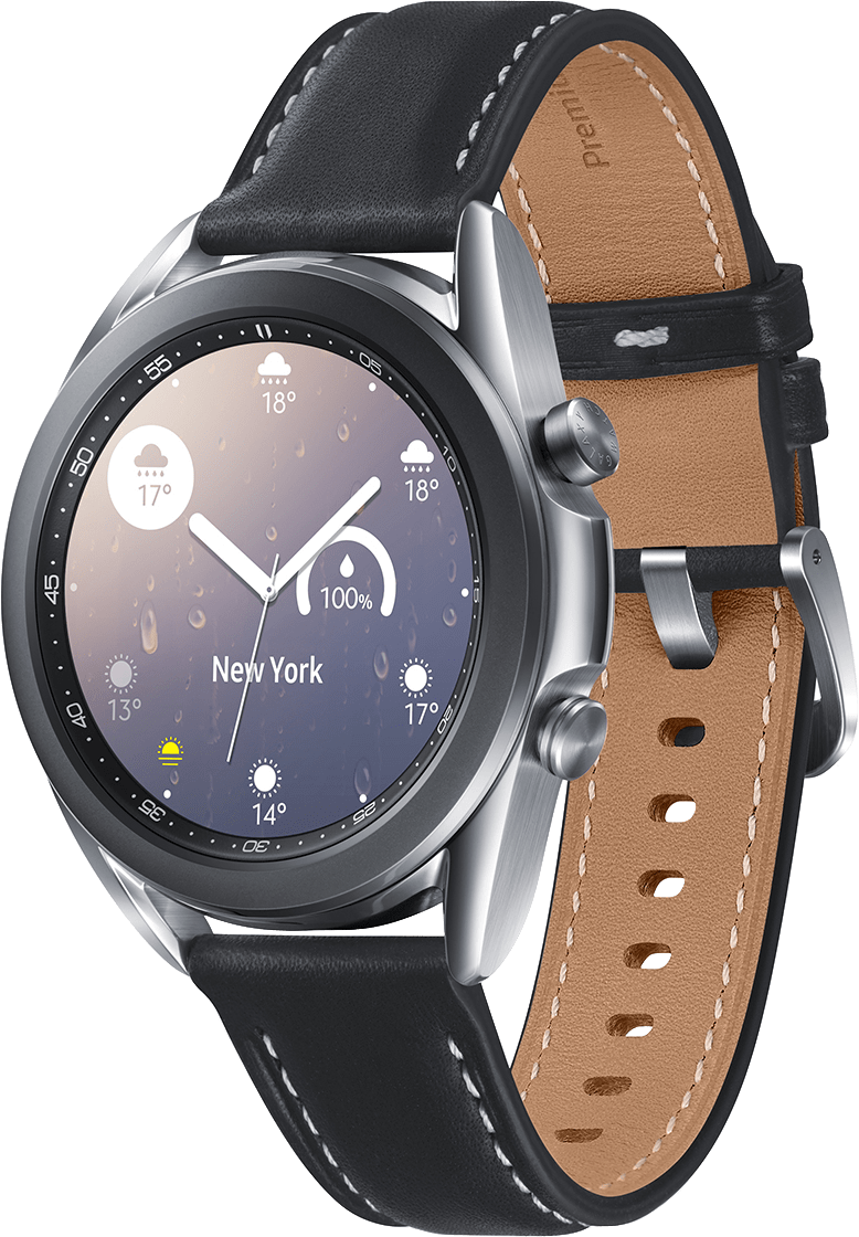 Mystic Silver Samsung Galaxy Watch 3, 41mm Stainless steel case, Real leather band.1