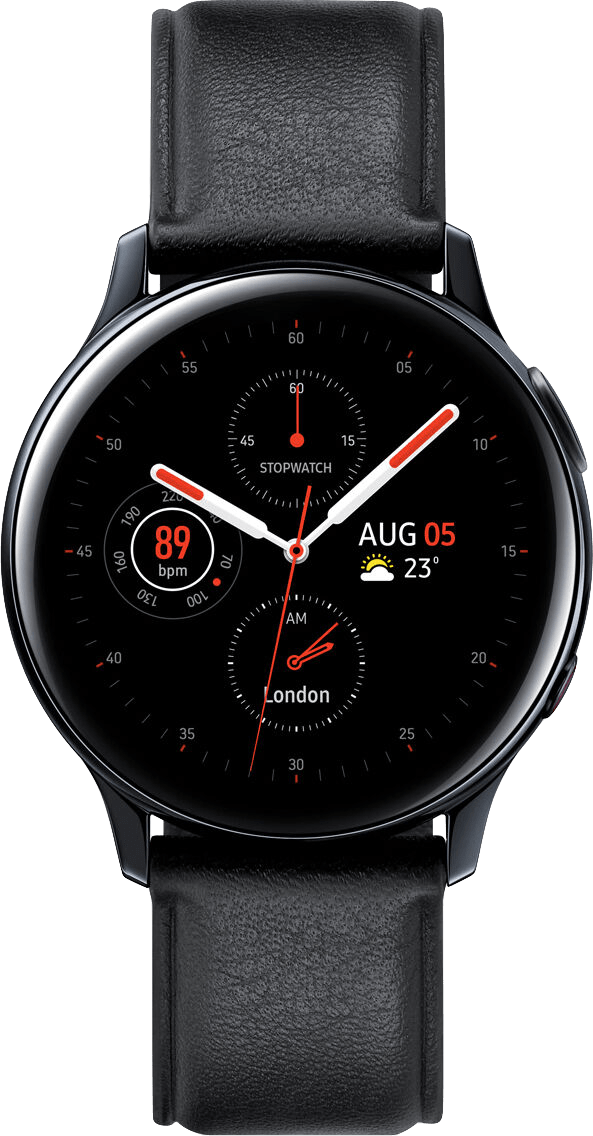 Black Samsung Galaxy Watch Active2 (LTE), 40mm Stainless steel case, Leather band.1