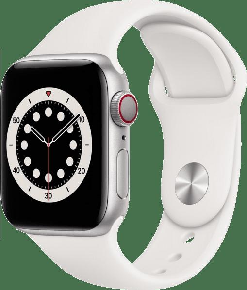White Apple Watch Series 6 GPS + Cellular , 40mm Aluminium case, Sport band.1