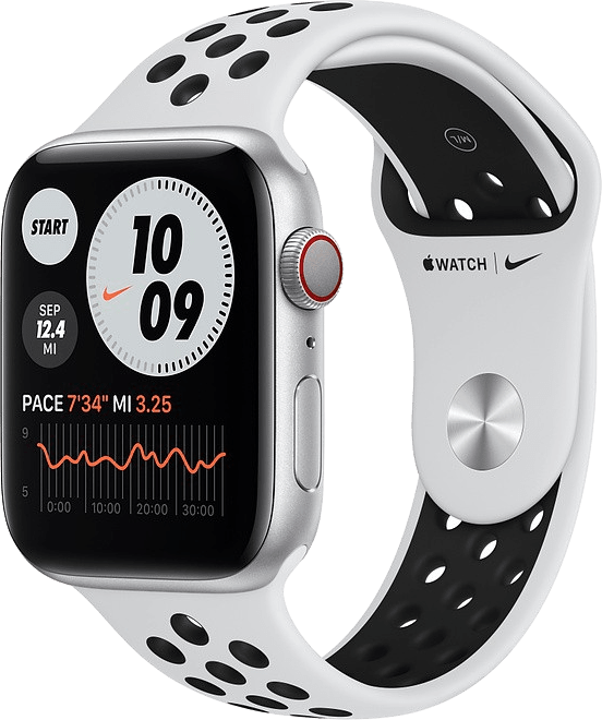 Platinum/black Apple Watch Nike Series 6 GPS + Cellular , 40mm Aluminium case, Sport band.1