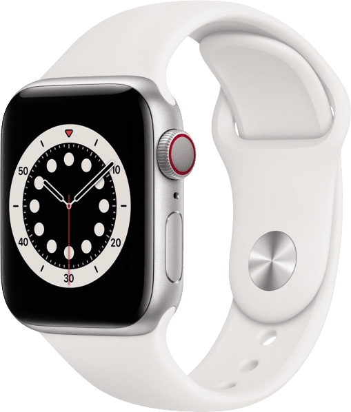 White Apple Watch Series 6 GPS + Cellular , 44mm Aluminium case, Sport band.1