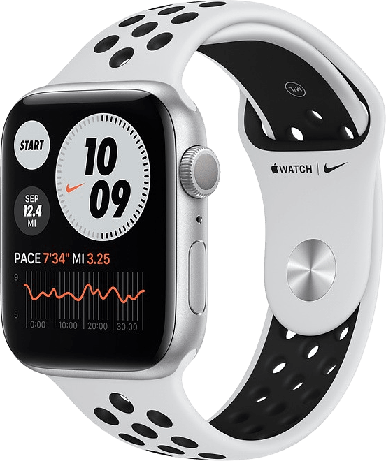 Platinum/black Apple Watch Nike Series 6 GPS, 44mm Aluminium case, Sport band.1