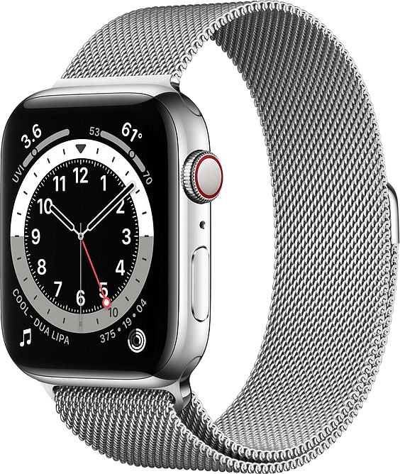 Silver Apple Watch Series 6 GPS + Cellular , 44mm Stainless steel case, Milanaise Loop.1