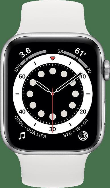 Weiß Apple Watch Serie 6 GPS, 44-mm-Aluminiumgehäuse, Sportarmband.2