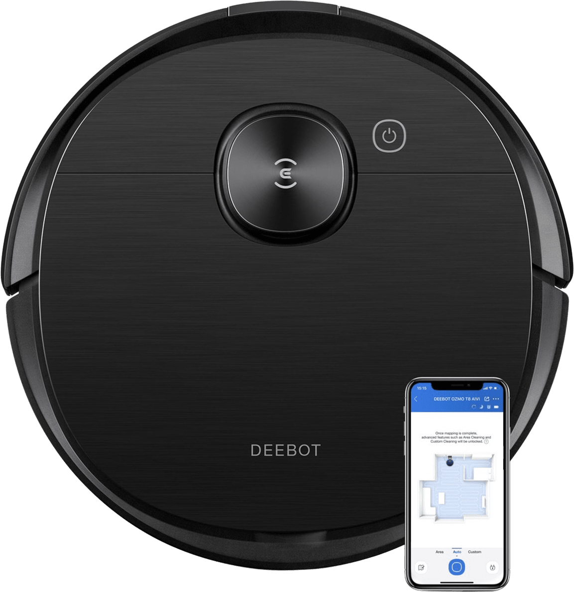 Black Ecovacs Deebot OZMO T8 AIVI Vacuum & Mop Robot Cleaner.1