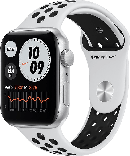 Platinum/black Apple Watch Nike SE GPS, 44mm Aluminium case, Sport band.1