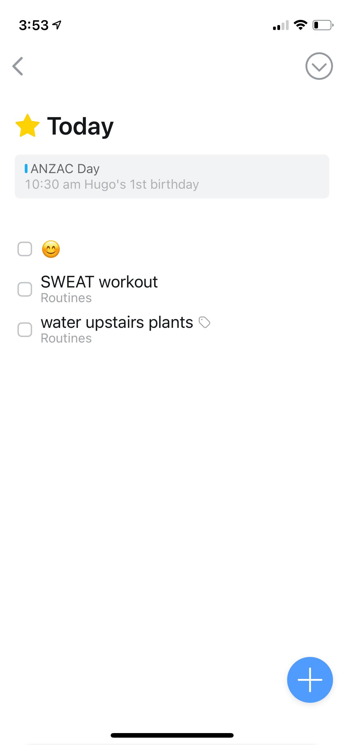 A screenshot of my todo list in Things