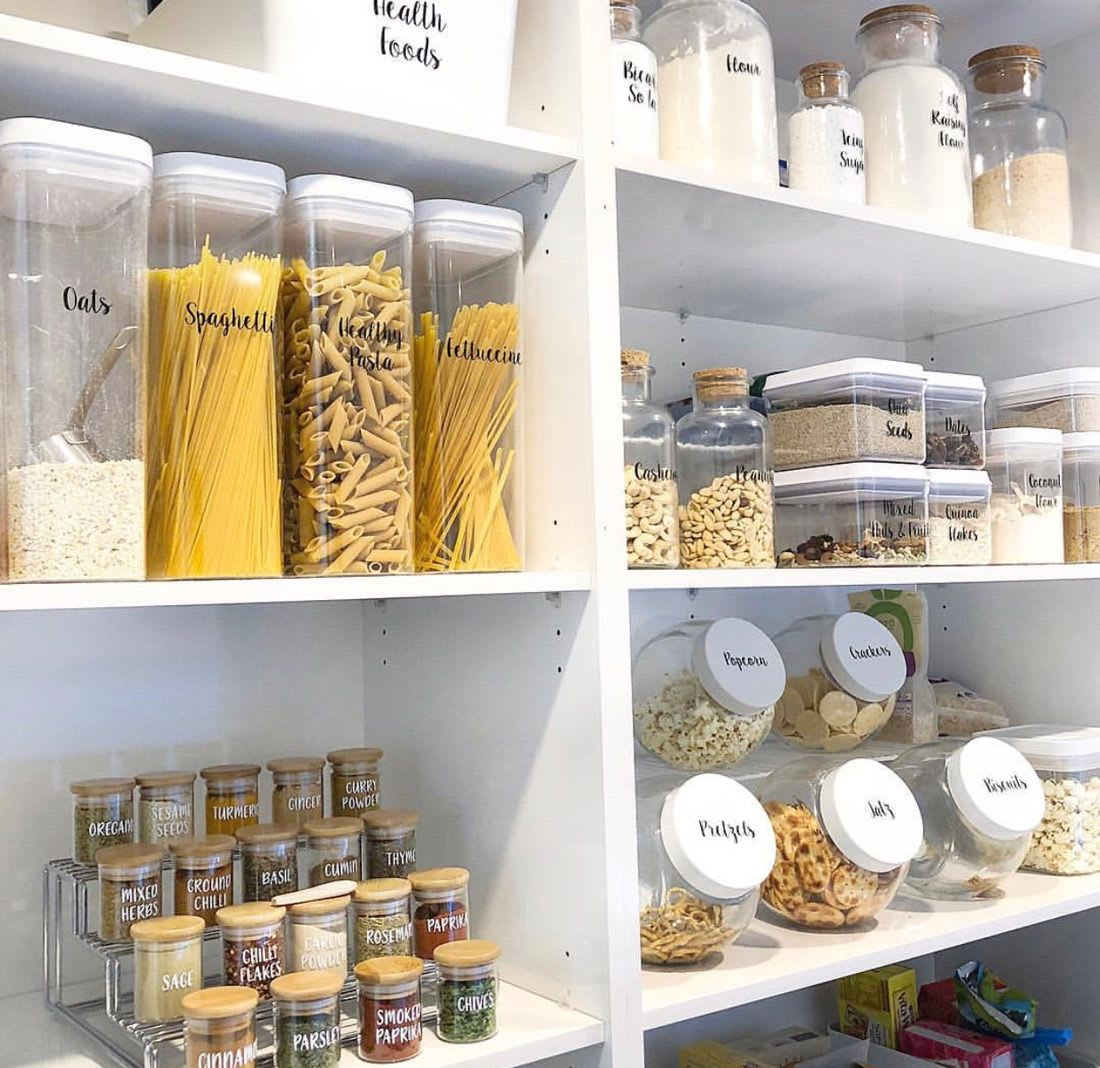 A pantry filled with matching containers
