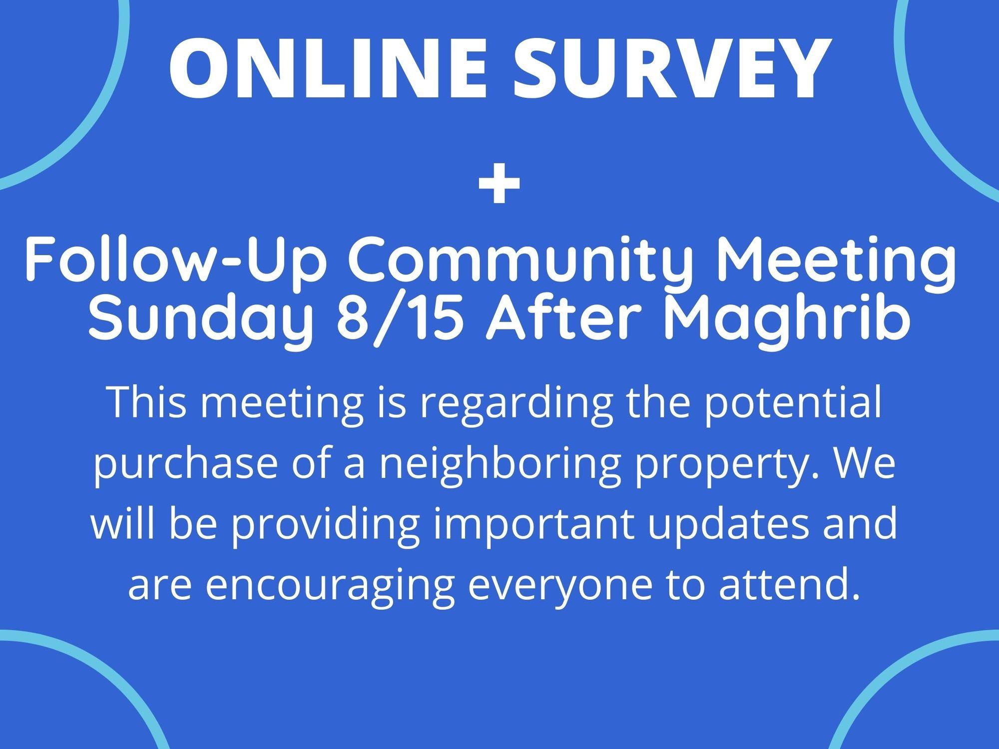 Masjid Al-Rahman Follow Up Meeting - Property Purchase Online Survey