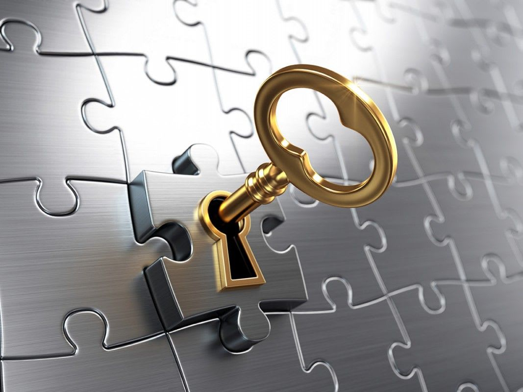 A golden key, unlocking the final puzzle piece in a jigsaw puzzle