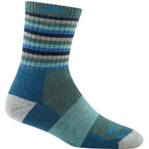 Darn Tough 1904 Womens Stripes Micro Crew Cushion Socks - Aqua Stripe