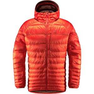 Haglofs Men's Essens Down Hooded Jacket - Habanero/Maroon Red