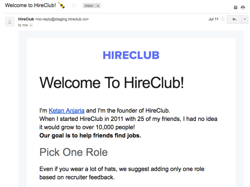 HireClub Welcome Email