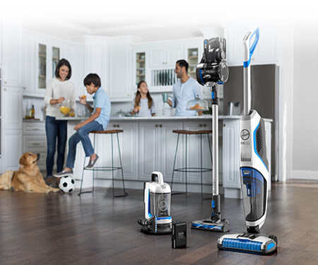 Photograph of the Hoover ONEPWR Family for the MEA Market, portraying a family busy in the Kitchen