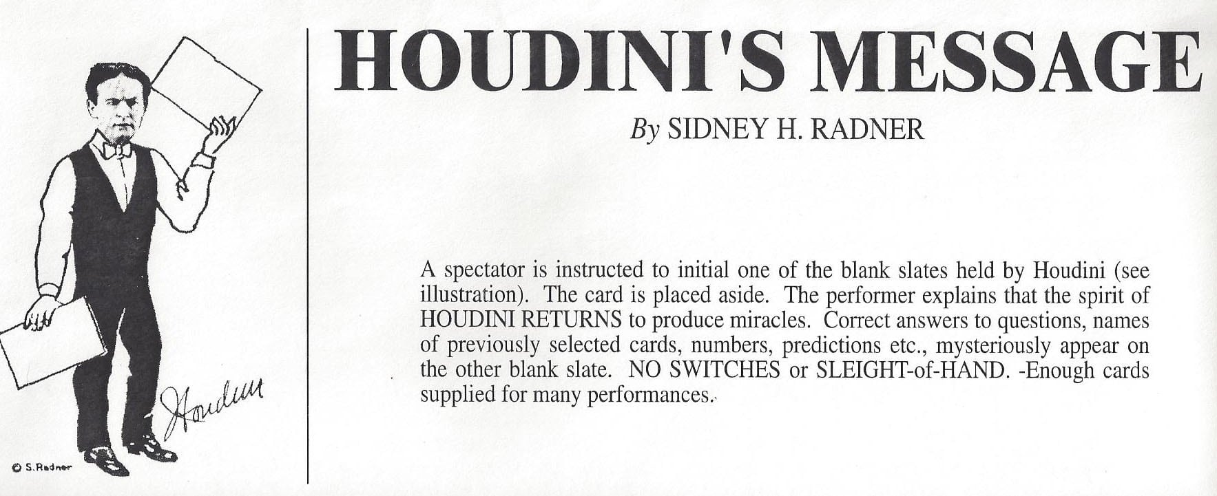 Houdini's Message by Sidney H. Radner