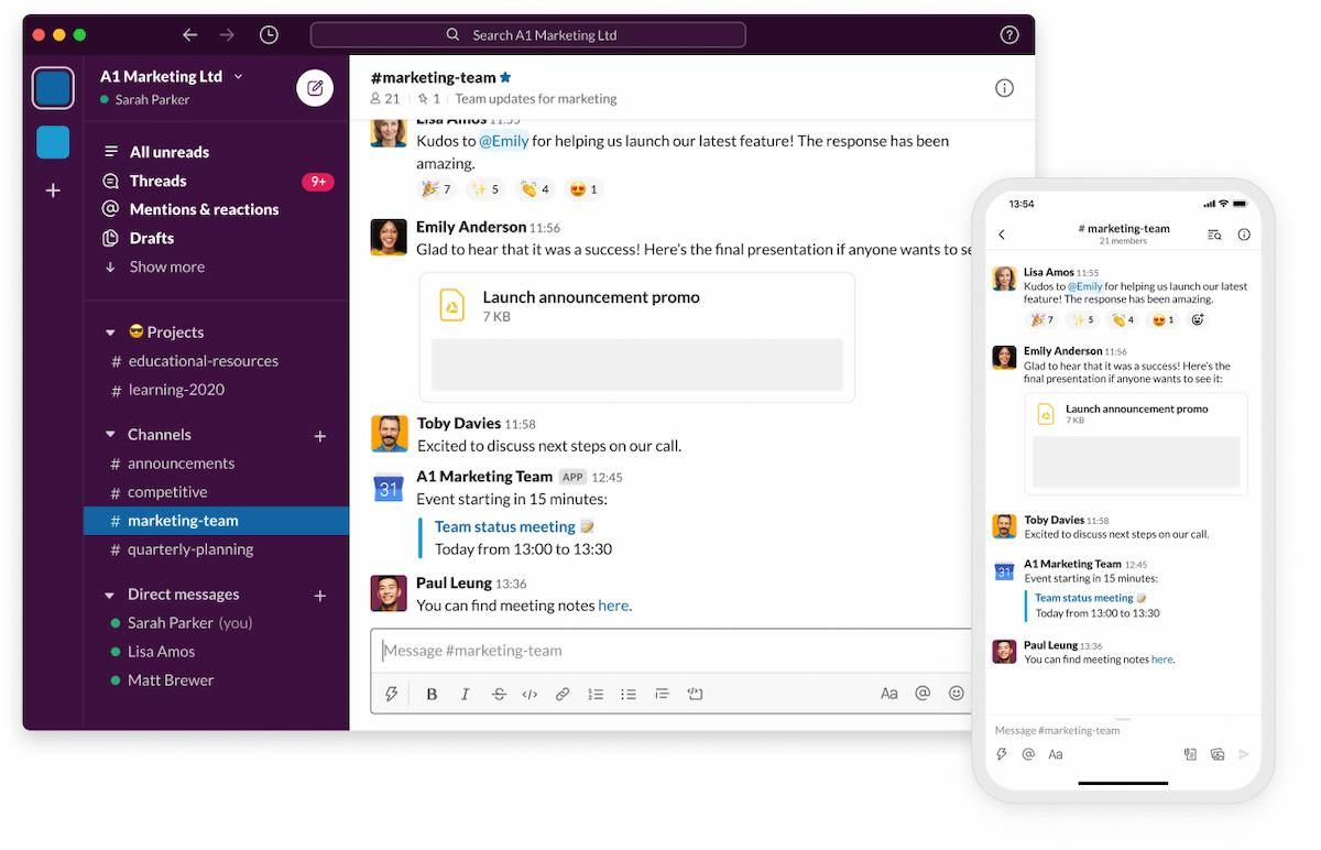 Screenshot shows a channel on the Slack platform