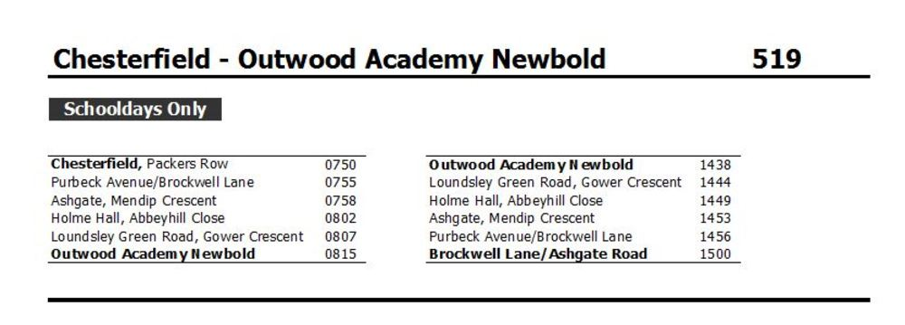 Bus Timetables - Outwood Academy Newbold