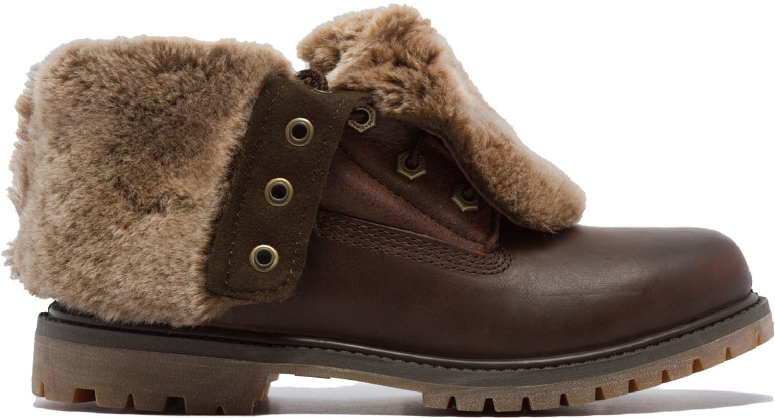Fold Shearling Down Dark Brown Boots Timberland Authentics T3FKJ1cl