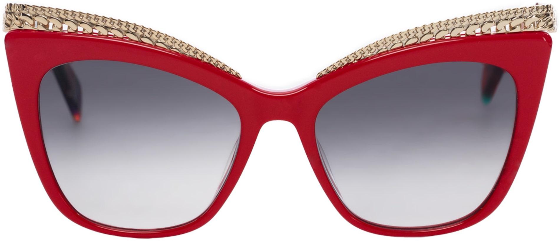 2d927811565 Moschino  Cat Eye Eyelash Sunglasses - Red Dark Grey