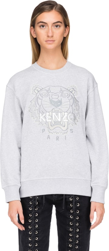 4aa96068 Kenzo: Iridescent Tiger Pullover - Pearl Grey   Influence U