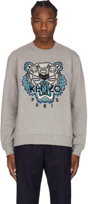 fc3e1b6b Kenzo - 'Leopard' Tiger Pullover - Dove Grey