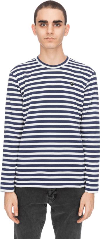 02adf5518eccb Comme des Garçons Play  Little Black Heart Striped T-Shirt - Navy ...