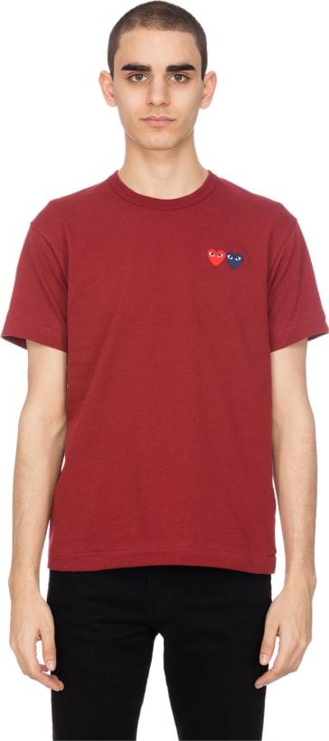 5565809e3861 Comme des Garçons Play  Double Heart T-Shirt - Burgundy